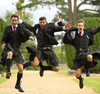 Kilt hire men jumping