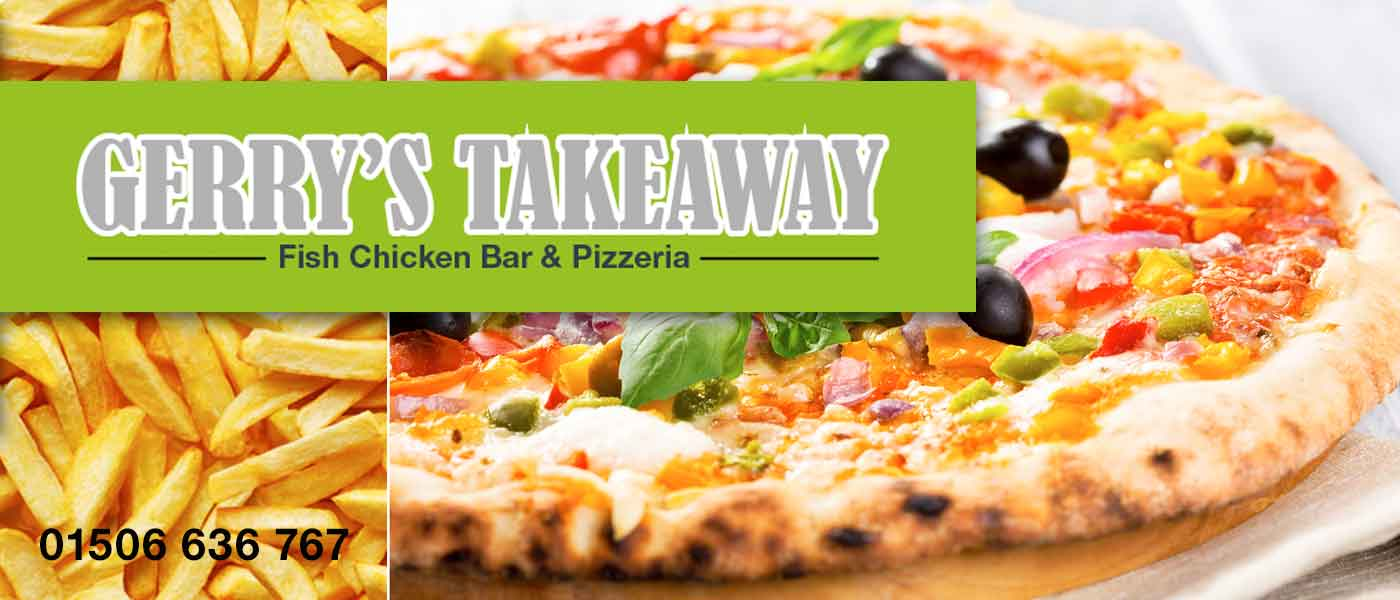 Bathgate town centre businesses gerry 39 s takeaway fish for Pizza and fish express